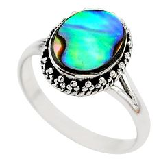 925 silver 2.71cts solitaire natural abalone paua seashell ring size 7.5 t20292