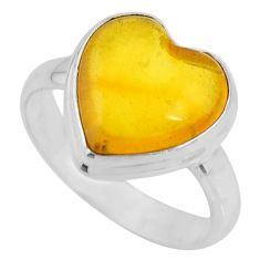 925 silver 5.06cts solitaire natural amber bone heart ring size 7.5 r51265