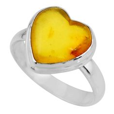 925 silver 5.24cts solitaire natural amber bone heart ring size 8.5 r51279