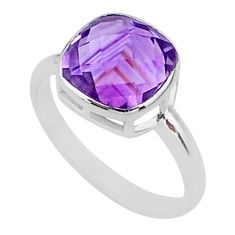 925 silver 5.22cts solitaire natural amethyst cushion shape ring size 8.5 t36403