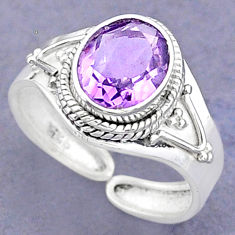 925 silver 4.02cts solitaire natural amethyst oval adjustable ring size 8 t8810