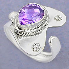 925 silver 4.02cts solitaire natural amethyst pear adjustable ring size 7 t8760
