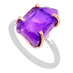 925 silver 6.27cts solitaire natural amethyst raw 14k gold ring size 7 t47157
