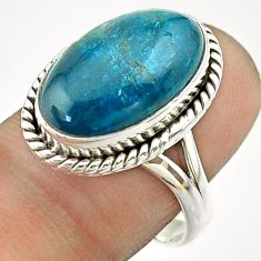 925 silver 10.64cts solitaire natural apatite (madagascar) ring size 8 t55845
