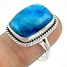 925 silver 12.70cts solitaire natural apatite (madagascar) ring size 8.5 t55858