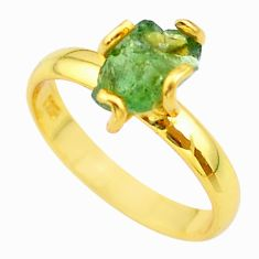 925 silver 4.56cts solitaire natural apatite rough 14k gold ring size 8 t36924