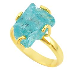 925 silver 8.05cts solitaire natural apatite rough 14k gold ring size 9 t36873