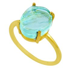 Handmade 4.91cts solitaire natural aquamarine raw gold ring size 9 t33170
