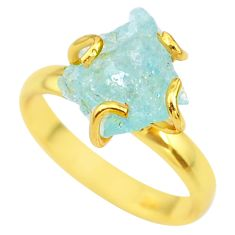 925 silver 5.96cts solitaire natural aquamarine rough gold ring size 9 t36915