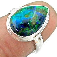 925 silver 6.57cts solitaire natural azurite malachite pear ring size 6.5 t55551