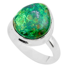 925 silver 8.77cts solitaire natural azurite malachite ring size 8.5 t45552