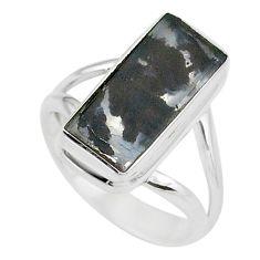 925 silver 6.03cts solitaire natural black dendritic quartz ring size 7 t10429
