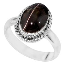 925 silver 4.25cts solitaire natural black obsidian eye oval ring size 7 t15440