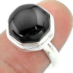 925 silver 6.02cts solitaire natural black onyx hexagon ring size 7 t55953