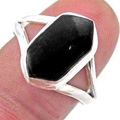 925 silver 5.24cts solitaire natural black onyx hexagon ring size 8 t48514