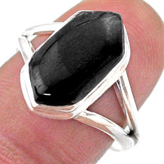Clearance Sale- 925 silver 5.24cts solitaire natural black onyx hexagon ring size 8 t48516