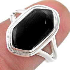 925 silver 5.56cts solitaire natural black onyx hexagon ring size 7.5 t48519