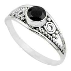 925 silver 0.81cts solitaire natural black onyx round shape ring size 8.5 t51912
