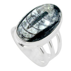925 silver 16.24cts solitaire natural black orthoceras ring size 6 t29013