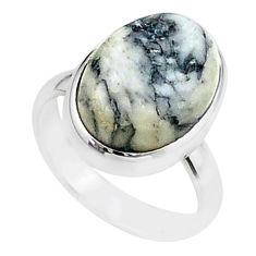 925 silver 8.44cts solitaire natural black pinolith oval ring size 6.5 t15432
