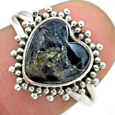925 silver 5.45cts solitaire natural black psilomelane heart ring size 7 t41629