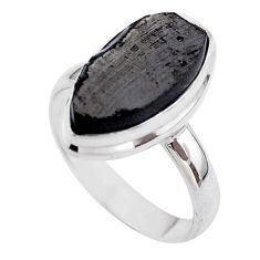 925 silver 14.12cts solitaire natural black shungite fancy ring size 10 t45890