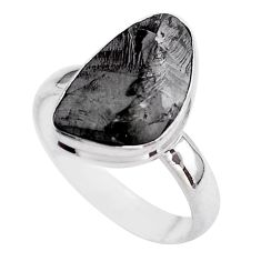 925 silver 8.80cts solitaire natural black shungite fancy ring size 9 t45883