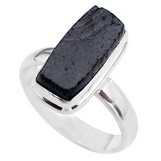 925 silver 6.31cts solitaire natural black shungite octagan ring size 9 t45864