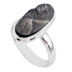 925 silver 6.33cts solitaire natural black shungite oval ring size 9 t45851