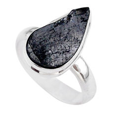 925 silver 6.51cts solitaire natural black shungite pear ring size 8 t45878