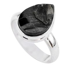 925 silver 6.95cts solitaire natural black shungite pear ring size 8 t45886