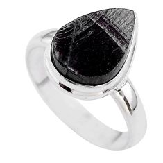 925 silver 6.57cts solitaire natural black shungite pear ring size 9.5 t45895