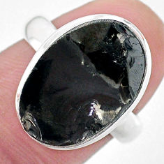 925 silver 9.04cts solitaire natural black shungite solitaire ring size 7 t22390