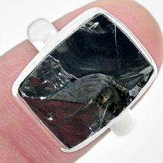 925 silver 9.86cts solitaire natural black shungite solitaire ring size 7 t22393