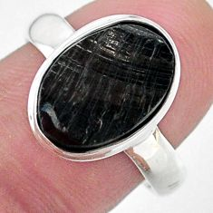 925 silver 5.11cts solitaire natural black shungite solitaire ring size 8 t22387