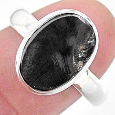 925 silver 5.38cts solitaire natural black shungite solitaire ring size 9 t22396