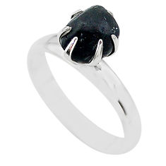 925 silver 4.30cts solitaire natural black tourmaline raw ring size 7 t21049