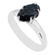 925 silver 4.59cts solitaire natural black tourmaline raw ring size 7 t21055