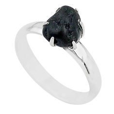 925 silver 4.59cts solitaire natural black tourmaline raw ring size 7 t21064