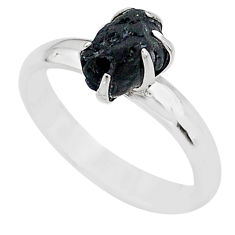925 silver 4.02cts solitaire natural black tourmaline raw ring size 7 t21075