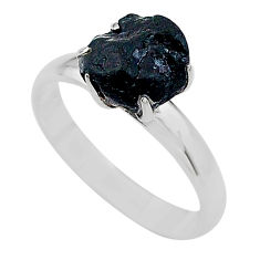 925 silver 4.88cts solitaire natural black tourmaline raw ring size 8 t21044