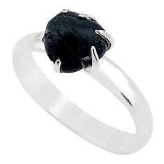 925 silver 4.54cts solitaire natural black tourmaline raw ring size 8 t21060