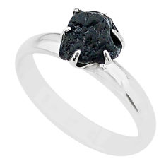 925 silver 4.54cts solitaire natural black tourmaline raw ring size 8 t21069