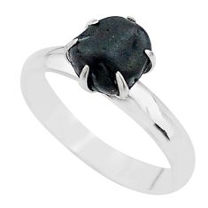 925 silver 4.54cts solitaire natural black tourmaline raw ring size 8 t21078
