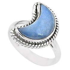925 silver 5.36cts moon natural blue angelite fancy ring size 7 t22180