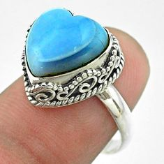 925 silver 5.84cts solitaire natural blue angelite heart ring size 7.5 t55918