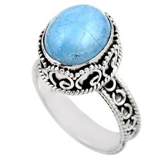 925 silver 5.30cts solitaire natural blue aquamarine oval ring size 8.5 r51853