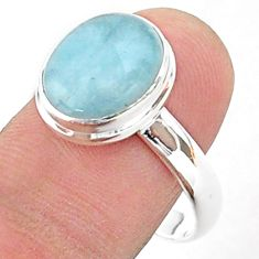 925 silver 5.36cts solitaire natural blue aquamarine oval ring size 10 t38313