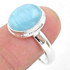 925 silver 4.93cts solitaire natural blue aquamarine oval ring size 9.5 t38304