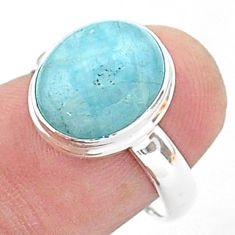 925 silver 4.93cts solitaire natural blue aquamarine oval ring size 7.5 t38308